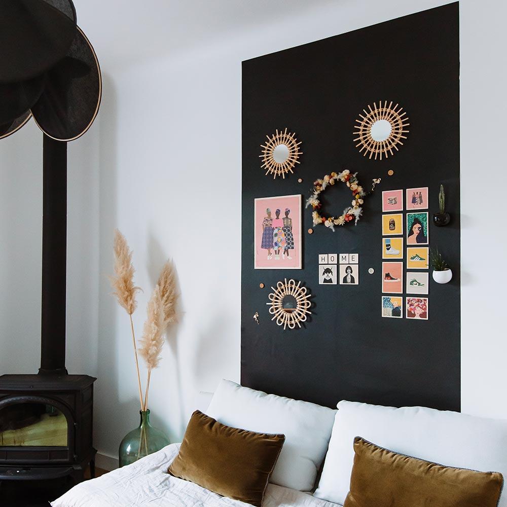 papier peint magnétique noir repositionnable 2,60mX60cm