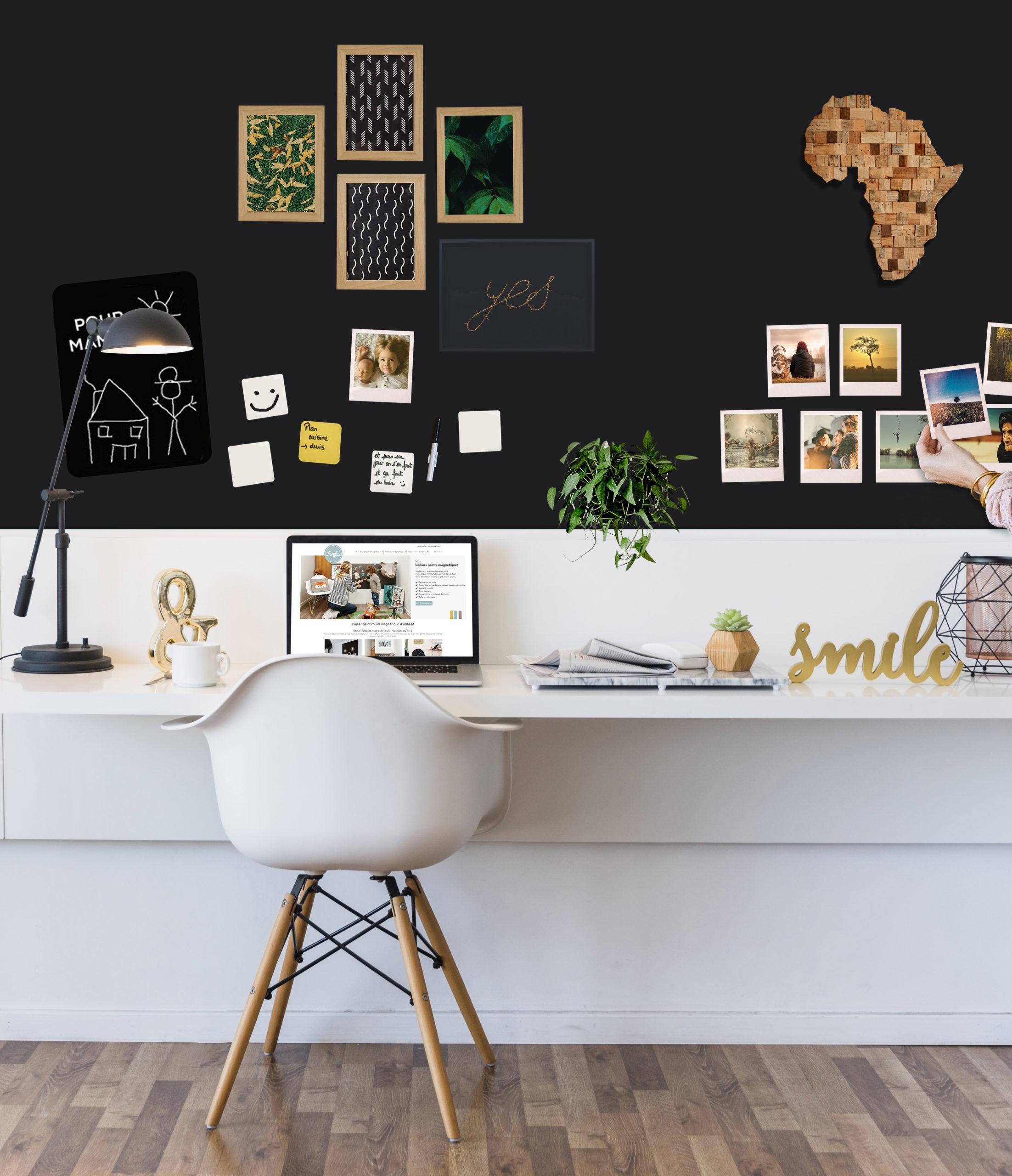 inspiration utilisation papier peint magnétique noir dans bureau