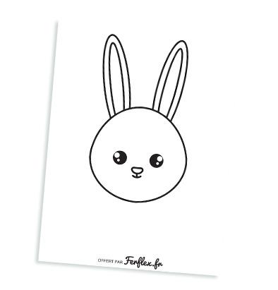 coloriage tête de lapin à télécharger gratuitement